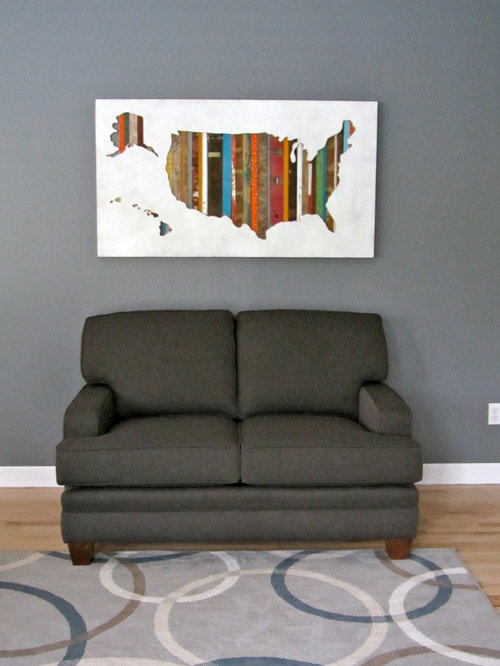 Dolan Geiman - Dolan Geiman USA Silhouette/Map Art in Private Residence - Mixed Media Art