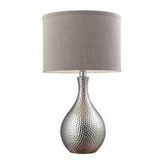 """22"""" Hammered Chrome Table Lamp in Chrome, Standard"""
