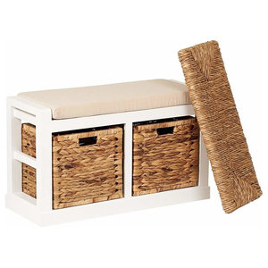 Traditional  2-Basket Storage Bench, White, Foam and Wicker Seat
