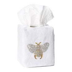Bee Tissue Box Cover, White Linen