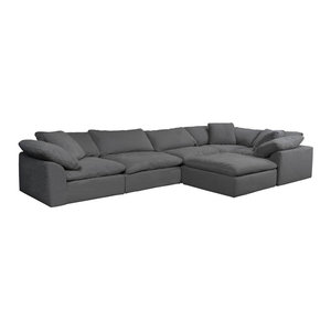 6-Pc Slipcovered Modular Large L Shaped Sectional Sofa with Ottoman Performance