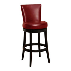 "Boston Swivel Bar Stool, Red Bicast Leather 30"" Seat Height"