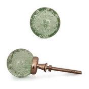 Glass Knobs, Aqua, Set of 3, Silver Base