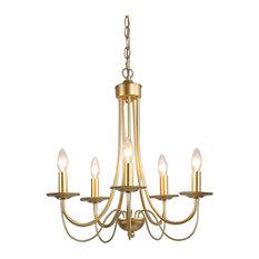 5-Light Modern Chandeliers, Electrogilding Adjustalbe Hanging Lighting
