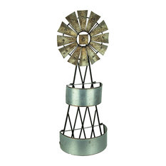 Galvanized Metal Windmill Wall Sculpture with Baskets