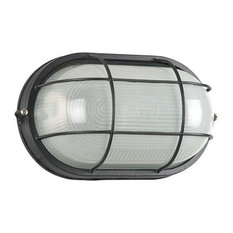 1-Light Outdoor Bulkhead, Black, Frosted Glass