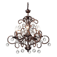 5-Light Antique Copper Finish Iron and Crystal Chandelier