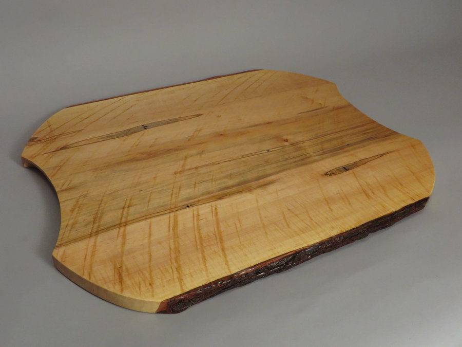 #15038 Hand-Carved Serving Tray. Reclaimed Ambrosia Maple
