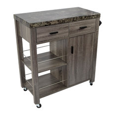 Smart Home Arctic Faux Marble Top Serving Kitchen Cart Weathered