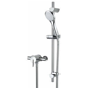 Thermostatic Shower Valve with Adjustable Riser, Solid Brass with Chrome Finish