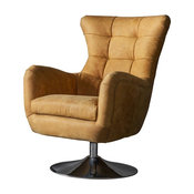 Bristol Swivel Armchair With Saddle Tan Leather Upholstery