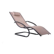 Vivere Aluminum Outdoor Wave Lounger, Macchiato on Matte Dark Gray
