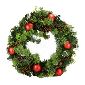 ALEKO CHDW17RD Decorative Holiday Christmas Wreath Green and Red