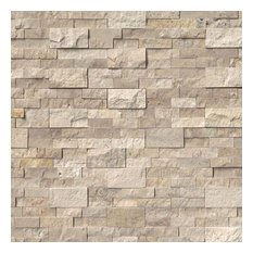"Roman Beige Travertine Stacked Stone Splitace, 6""x24"" Panel, 10 Sq Ft"