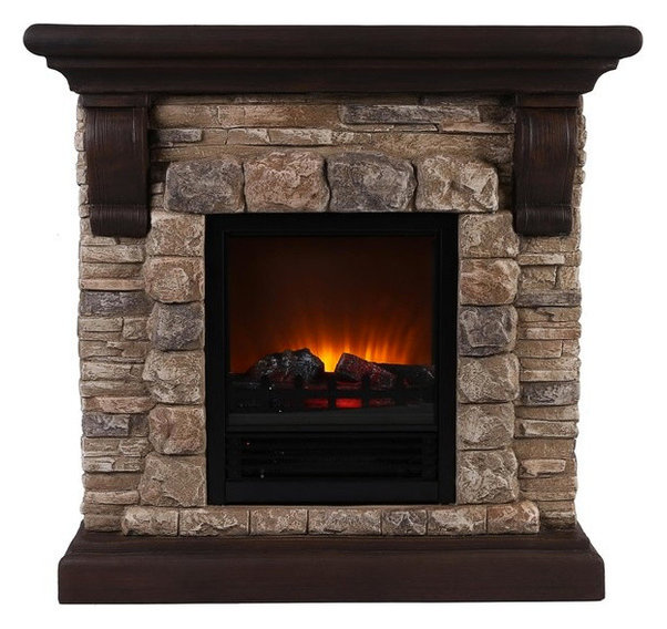 Faux Stone Portable Fireplace - Rustic - Indoor Fireplaces - by OK ...