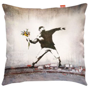 Banksy Thug Flowers Sofa Cushion, Large, 80x80 cm