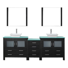 "Dior 90"" Double Bathroom Vanity Set Zebra Gray, Glass Top, Vessel Sink"