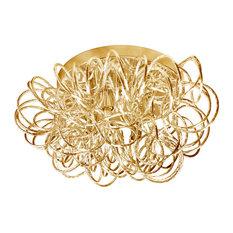 Tubular 4-Light Flush-Mount Fixture, Gold
