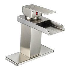 Bwe Modern Single Handle Waterfall Bathroom Sink Faucet Nickel Brushed