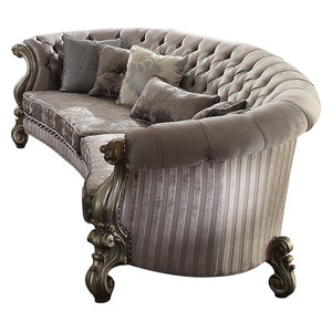 Acme Versailles Sofa With 5 Pillows Ivory Velvet And Bone