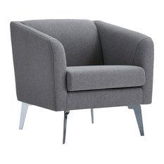 Divani Casa Preston Contemporary Gray Fabric Lounge Chair