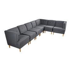 GDF Studio 7-Piece Milltown Fabric Sectional Sofa Set, Dark Gray