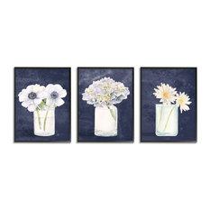 Farmhouse Flower Bouquets Navy Blue White Painting,3pc, each 11 x 14