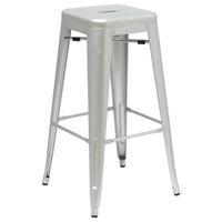 Industrial Outdoor Vintage Outdoor Kitchen Bar Stool Chair, Silver, Metal