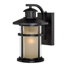 Cadiz 1 Light Dusk to Dawn Bronze Mission Cylinder Outdoor Wall Lantern