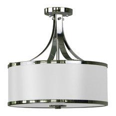 Hugo 3-Light Semi Flush, Ebony/Bronze, White/Chrome