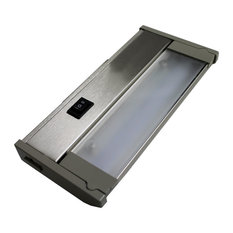 """120V Dimmable LED Under Cabinet Metal Light Bar, AQUC, Satin Nickel, 8"""""""