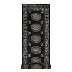 "ALRUG Handmade Black Oriental  Fil Pa Rug, 2'7""x12'"