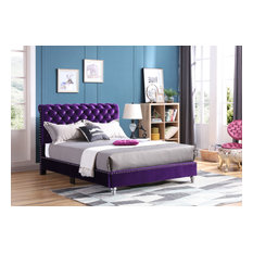 Princeton Tufted Upholstered Suede Bed, Purple, Full