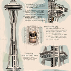 """""""Space Needle Technical Drawing Naturals"""" Print, 12""""x18"""""""