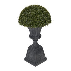 Artificial Boxwood Half Ball Topiary in Black Urn