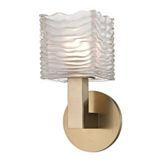 Sagamore 1 Light LED Bath Bracket, Aged Brass Finish, Clear, Etched Glass
