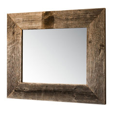 """Mirror With Barnwood Frame, 22""""x26"""", Natural"""