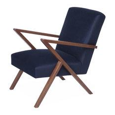 Retrostar Velvet Armchair, Navy Blue