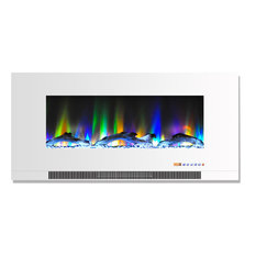 """42"""" Wall-Mount Electric Fireplace White Multi-Color Flames Driftwood Log Display"""
