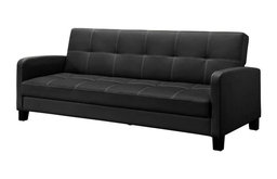 Black Faux Leather Sofa Bed Sleeper - Great for Apartments