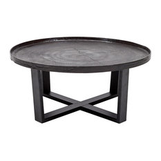 Harper Industrial Loft Black Raw Bronze Round Coffee Table