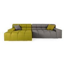 Kardiel - Cubix Modular Cashmere Sofa Sectional Deco Moss/Cadet Gray Left Facing  sc 1 st  Houzz : green sectional sofa - Sectionals, Sofas & Couches