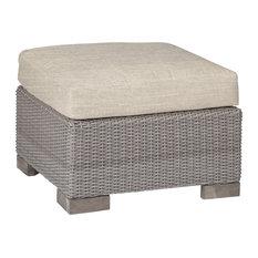Summer Classics Club Woven Ottoman, Linen Dove Cushion