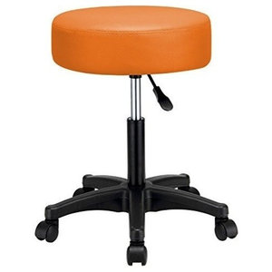 Swivel Bar Stool, Faux Leather Seat and Adjustable Height, Round Design, Orange
