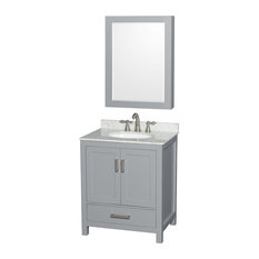"Sheffield 30"" Gray Single Vanity, White Carrera Marble Top, Undermount Oval Sink"