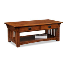 Coffee Table with Drawers and Shelf in Medium Oak