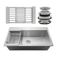 akdy home improvement 30x18x9 handmade stainless steel top mount kitchen - Drop In Kitchen Sink