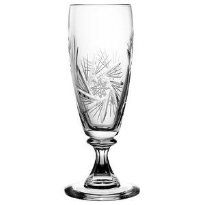 Pinwheel Lead Crystal Short Stem Champagne Flutes, Set of 6