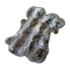 fur accents llc faux fur pelt gray stripe wolf throw rug 5u0027x7