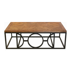 Circle Parquet French Contemporary Wood Coffee Table Coffee Tables